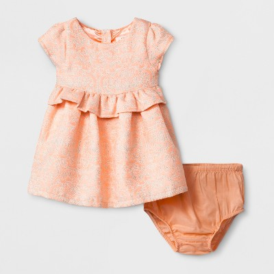 Baby Girls' A-Line Dress and Panty Set - Cat & Jack™ Peach 3-6M