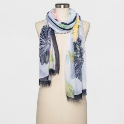 Women's Floral Oblong Scarf - A New Day™ White