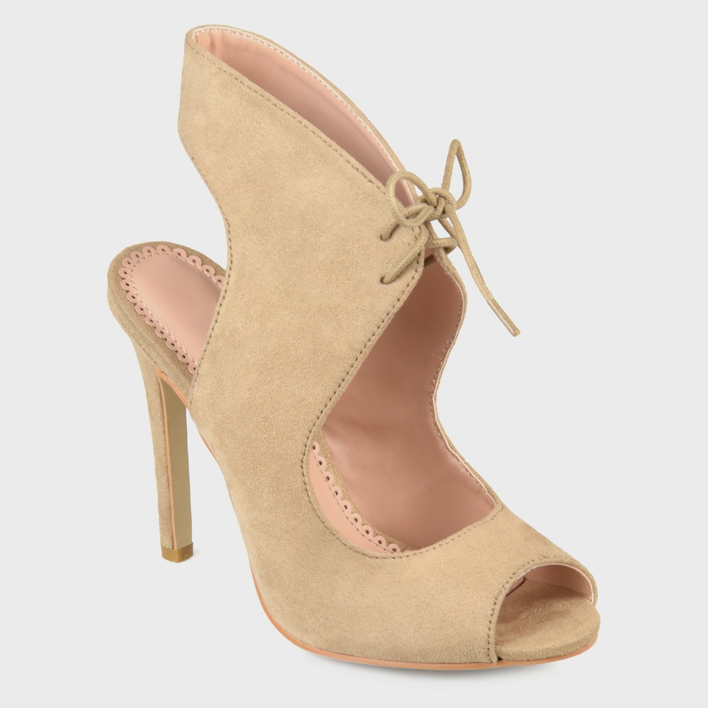 Women's Journee Collection Lace-up Open Toe High Heels - Nude 6