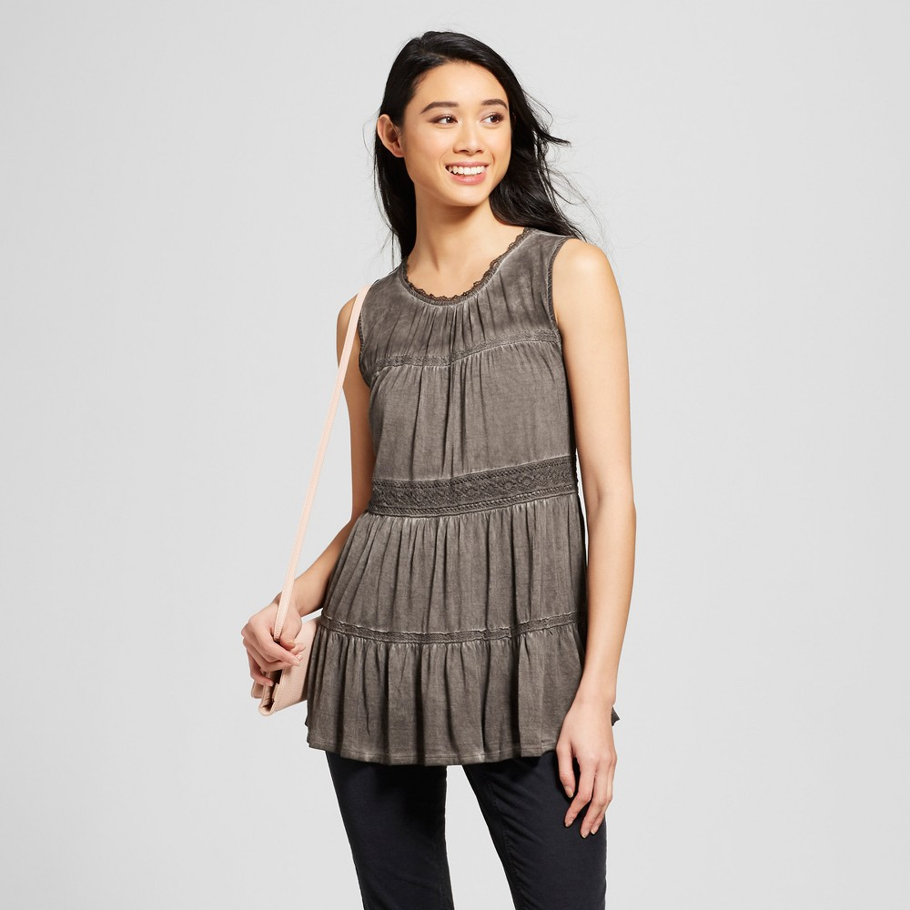 Women's Tiered Oil Wash Tank - Knox Rose Charcoal L, Gray