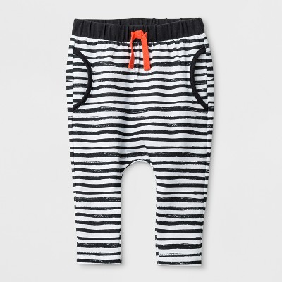 Baby Boys' Stripe Joggers with Critter on the Bottom - Cat & Jack™ White 6-9M