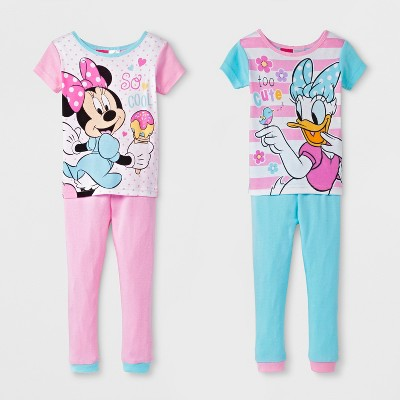 Toddler Girls' Minnie Mouse 4pc Cotton Pajama Set - Pink/Teal 3T