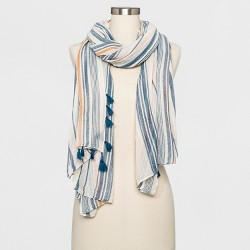 Women's Striped Oversized Oblong Scarf - Universal Thread™ Blue
