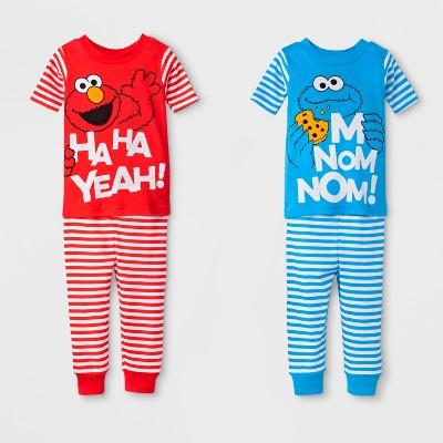 Sesame Street Baby Boys' Elmo/Cookie Monster 4pc Cotton Pajama Set - Red/Blue 24M