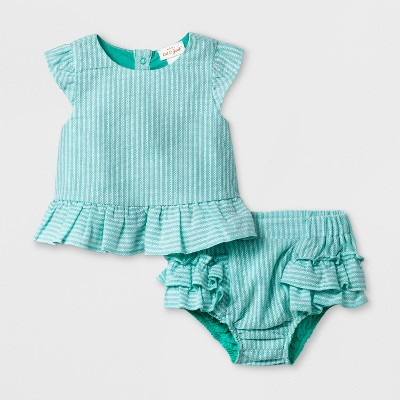 Baby Girls' Woven Top and Bottom Set - Cat & Jack™ Green 12M