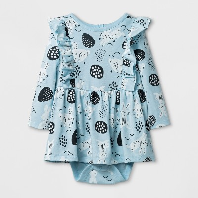 Baby Girls' Long Sleeve Bunny Dress - Cat & Jack™ Light Blue 12M