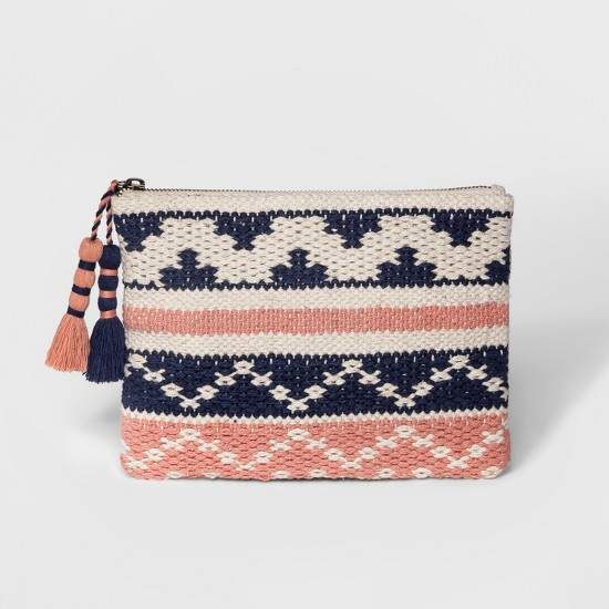 Women's Handloom & Jacquard Fabric Clutch Bag - Universal Thread™ Navy