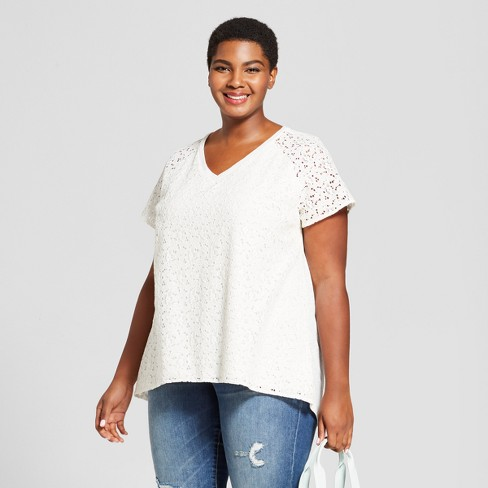 Women's Plus Size Lace V-Neck Short Sleeve T-Shirt - Ava & Viv™ - image 1 of 2