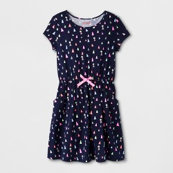 Girls' Short Sleeve Multi Geo Print Dress - Cat & Jack™ Navy