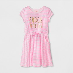 Girls' Short Sleeve Stripe Dress - Cat & Jack™ Pink