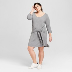 Women's Plus Size Long Sleeve Tie-Front T-Shirt Dress - A New Day™ Heather Gray