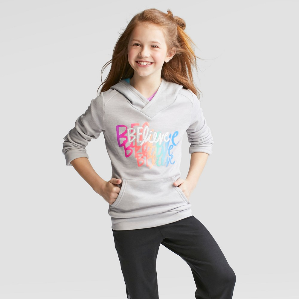 Girls' Believe Graphic Pullover Tech Fleece - C9 Champion Gray L