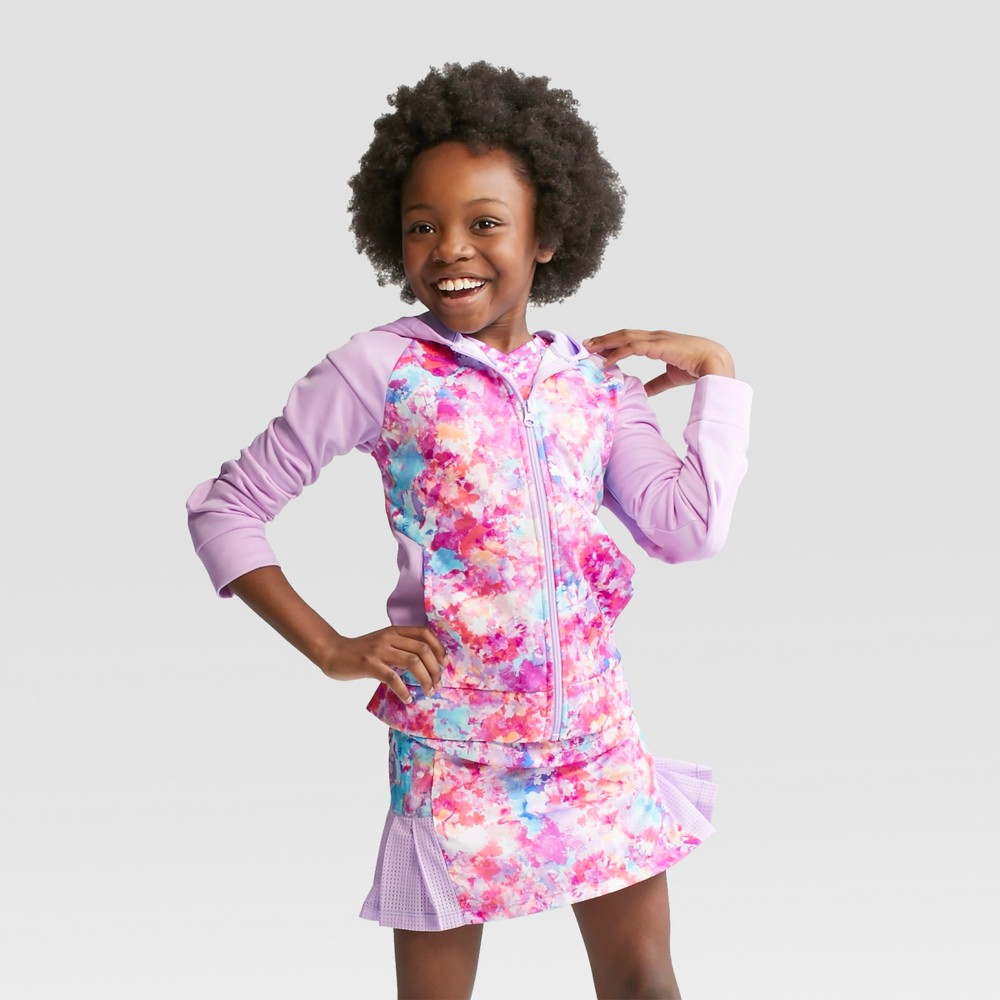 Girls' Printed Tech Fleece Full Zip Pullover - C9 Champion Lavender XL, Multicolored