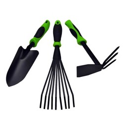 3pc Garden Tool Set - Black - G & F Products