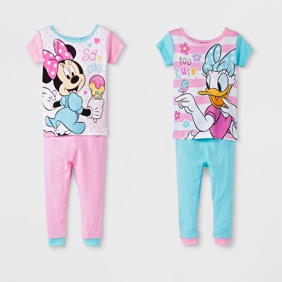 Baby Girls' Minnie Mouse 4pc Cotton Pajama Set - Pink/Teal 18M