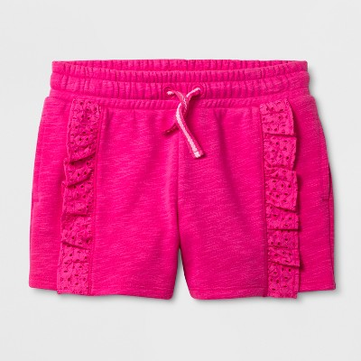 Girls' Elevated Ruffle Shorts - Cat & Jack™ Hot Magenta Pink S
