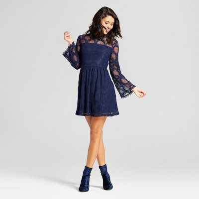 view Women's Lace Bell-Sleeve Dress - Xhilaration (Juniors') on target.com. Opens in a new tab.