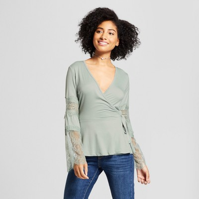 Women's Lace Wrap Top - Xhilaration™ Mint XS