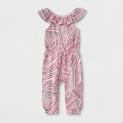 Baby Girls' Sleeveless Romper with Stripes - Cat & Jack™ Pink 24M