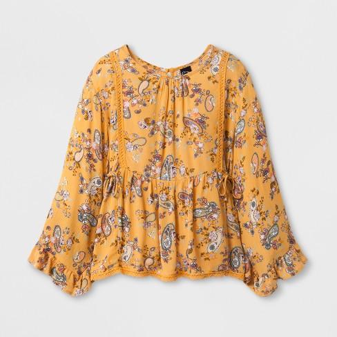 Girls\' 3/4 Sleeve Gauze Boho Top - art class™ Gold Paisley : Target
