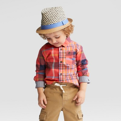 Toddler Boys' Long Sleeve Button Down Shirt - Cat & Jack™ Red Multi Plaid - 18 Months