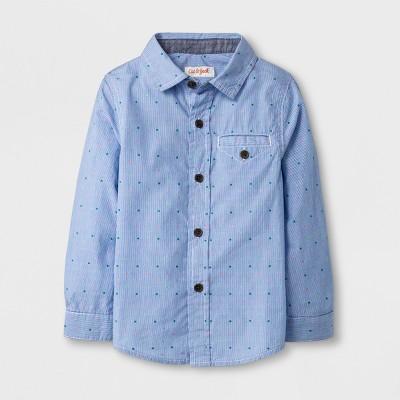 Toddler Boys' Long Sleeve Button Down Shirt - Cat & Jack™ Blue Dot - 18 Months