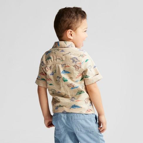 Toddler Boys' Short Sleeve Button-Down Dinosaur Printed Shirt - Cat & Jack™  Khaki : Target