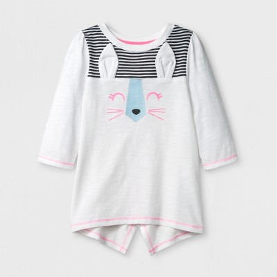 Toddler Girls' 3/4 Sleeve Bunny T-Shirt - Cat & Jack™ White 5T