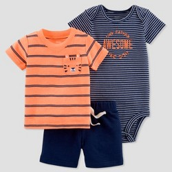 Baby Boys' 3pc Tiger Diaper Cover Set - Just One You™ Made by Carter's® Orange/Navy