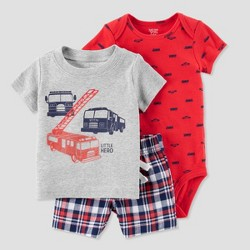 Baby Boys' 3pc Firetruck Diaper Cover Set - Just One You™ Made by Carter's® Red/Gray