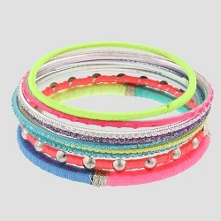 Girls' 9pc Thread Wrapped & Glitter Bangles Bracelet Set - Cat & Jack™