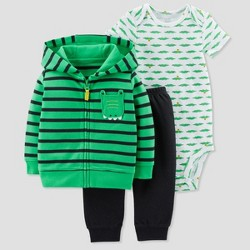 Baby Boys' 3pc Alligator Cardigan Set - Just One You™ Made by Carter's® Green