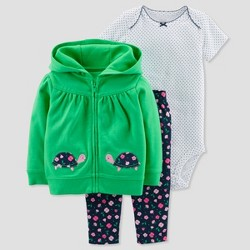 Baby Girls' 3pc Turtle Cardigan Set - Just One You™ Made by Carter's® Green/Navy