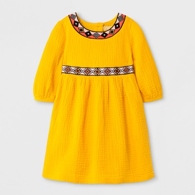 Toddler Girls' Embroidered Dress - Genuine Kids from Oshkosh Gold 18M