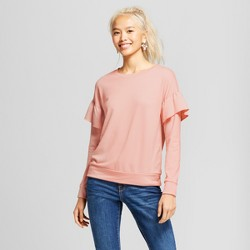 Women's Ruffle Sleeve French Terry Pullover Sweatshirt - Grayson Threads (Juniors') Pink