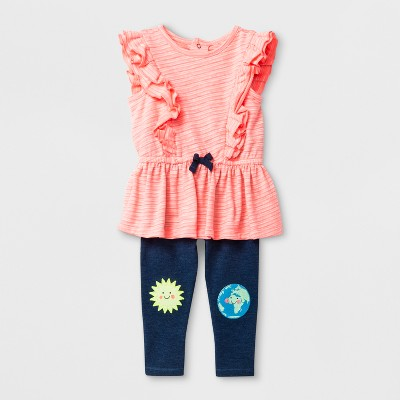 Baby Girls' Ruffle Top and Leggings Set - Cat & Jack™ Coral 6-9M