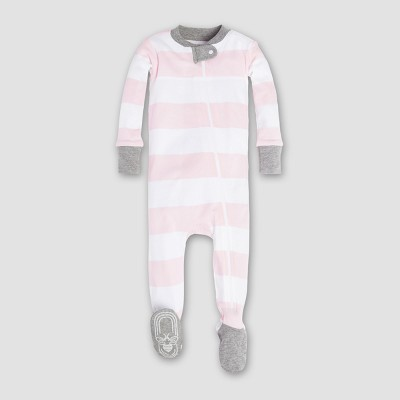 Burt's Bees Baby Girls' Organic Cotton Rugby Stripe Sleeper - Pink 3-6M