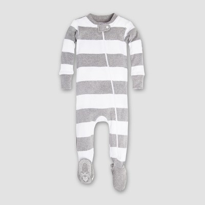 Burt's Bees Baby Boys' Organic Cotton Rugby Stripe Sleeper - Heather Gray 0-3M