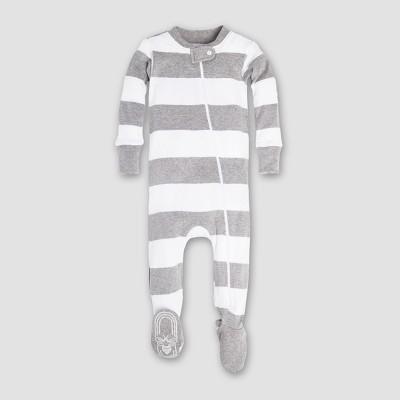 Burt's Bees Baby Boys' Organic Cotton Rugby Stripe Sleeper - Heather Gray 0-3M