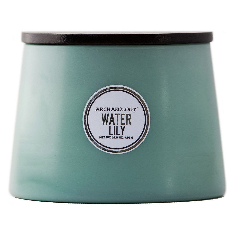 Image of Large Sculpted Matte Candle Water Lily 14.8oz - Archaeology, Green