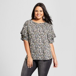 Women's Plus Size Ruffle Short Sleeve T-Shirt - Xhilaration™ Black Floral