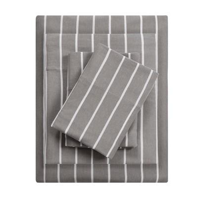 Cotton Blend Jersey Knit Sheet Set (Queen)Gray Stripe