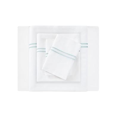 Embroidered Cotton Sateen Sheet Set (Queen)White/Aqua 400 Thread Count