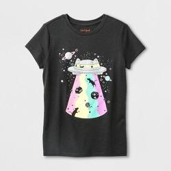 Girls' Short Sleeve Space Cat Graphic T-Shirt - Cat & Jack™ Dark Gray