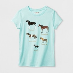 Girls' Horses Graphic Short Sleeve T-Shirt - Cat & Jack™ Blue