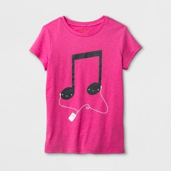 Girls' Music Note Graphic Short Sleeve T-Shirt - Cat & Jack™ Pink
