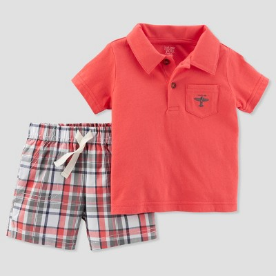 Baby Boys' 2pc Plaid Airplane Shorts Set - Just One You® made by carter's Coral 6M