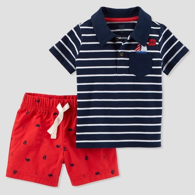 Baby Boys' 2pc Nautical Shorts Set - Just One You® made by carter's Navy 12M