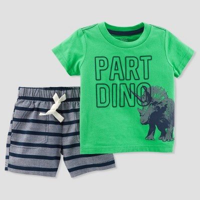 Baby Boys' 2pc Dino Shorts Set - Just One You® made by carter's Green/Gray 9M
