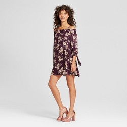 Women's Floral Off the Shoulder Tie Sleeve Dress - Lily Star (Juniors') Purple